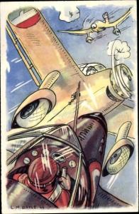 Künstler Ak Bayle, L. M., Combat aerien, pilote Marcel Le Bihan, französisches Kampfflugzeug, II. WK