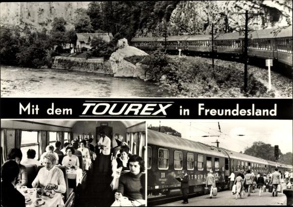 Ak Tourex Touristenexpress Eisenbahn, Speisewagen, DDR 0