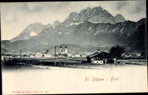 Ak St Johann in Tirol, Panorama vom Ort
