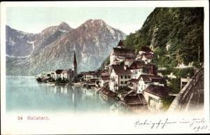 Ak Hallstatt im Salzkammergut Oberösterreich, Blick auf den Ort, Gebirge