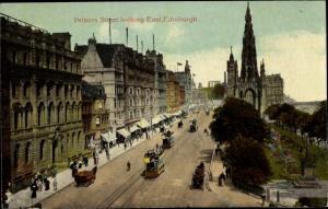 Ak Edinburgh Schottland, Princes Street looking East, Tram, Scotts Monument