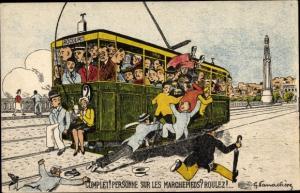 Künstler Ak Vanackere, G., Rocourt, Vollbesetzte Straßenbahn, Complet, Personne sur les Marchepieds
