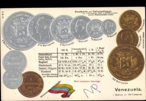 Präge Litho Venezuela, Münzen, Nationalflagge, Bolivar, Centavos