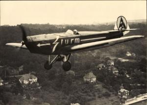 Foto Walter Hahn, Kunstflugzeug mit Kunstflieger Ernst Fröde, Sturm, Fliegeraufnahme über Dresden