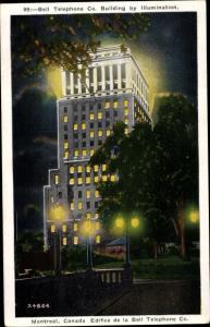 Ak Montreal Québec Kanada, Bell Telephone Co. Building by Illumination