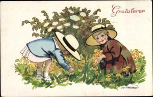 Künstler Ak Gratulerer, Kinder beim Blumen pflücken