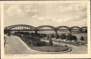Ak Warszawa Warschau Polen, Eisenbahnbrücke