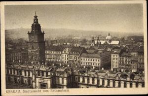 Ak Kraków Krakau Polen, Stadtansicht vom Rathausturm