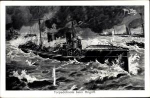 Künstler Ak Thiele, Arthur, Topedoboote beim Angriff, Deutsche Kriegsschiffe