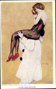 Künstler Ak Kirchner, Raphael, Harlequinade, Harlekin mit Frau in enger Strumpfhose