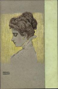 Künstler Ak Kirchner, Raphael, Frauenportrait im Profil