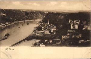 Ak Sankt Goar am Rhein, Ort aus Vogelschau