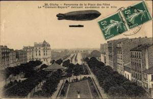 Ak Clichy Hauts de Seine, Panorama, Dirigeable le Clément Bayard
