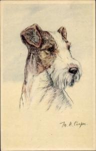 Künstler Ak Cooper, Hundeportrait, Terrier