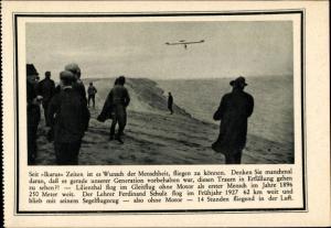 Ak Segelflugzeug von Ferdinand Schulz, Deutscher Luftfahrt Verband, Werbung für Privatspenden