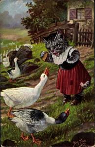 Künstler Ak Thiele, Arthur, Vermenschlichte Katze mit Gänsen