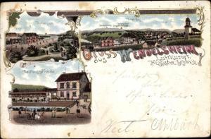 Passepartout Litho Wendelsheim Wöllstein, Gasthaus zur Traube, Totalansicht, Panorama