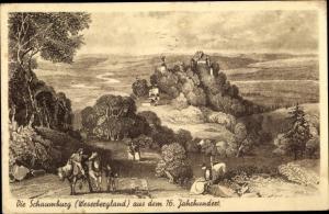 Künstler Ak Schaumburg Rinteln Wesergebirge, Schloss Schaumburg aus dem 16. Jahrhundert