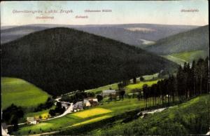Ak Oberrittersgrün Breitenbrunn sächs. Erzgebirge, Teilansicht, Strobelberg, Zollamt, Ehrenzipfel
