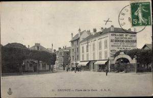 Ak Brunoy Essonne, Place de la Gare, Hôtel de la Gare Maison Lagier