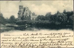 Ak Hamburg Mitte Altstadt, Partie am Alsterufer, Villa mit Turm