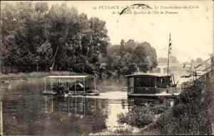 Ak Puteaux Hauts de Seine, Bords de la Seine, Le Transbordeur du Cercle Société Sportive de L´Ile
