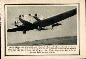 Ak Verkehrsflugzeug, Deutscher Luftfahrt Verband, Werbung für Privatspenden
