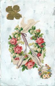 Litho Glückwunsch Neujahr, Schwalben, Rosen, Maigöckchen, Kleeblatt
