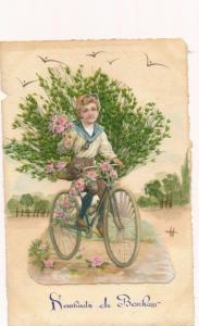 Material Litho Junge auf einem Fahrrad, Gräser