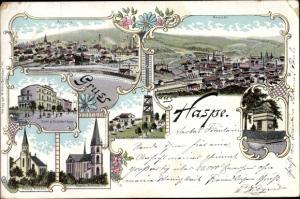 Passepartout LithoHaspe Hagen Westfalen, Ansicht, Katholische und Evang. Kirche, Krankenhaus