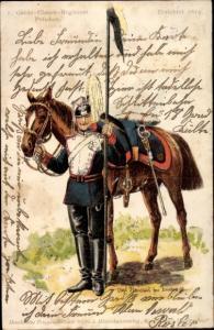 Regiment Litho 1. Garde Ulanen Regiment Potsdam, Soldat in Uniform, Pferd