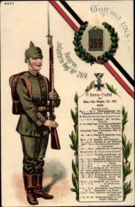 Regiment Ak Reserve Infanterie Regiment No. 269, Ehrentafel, Soldat in Uniform