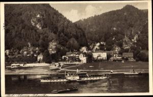 Ak Schmilka Bad Schandau Sächsische Schweiz, Teilansicht mit Schrammsteine, Salondampfer
