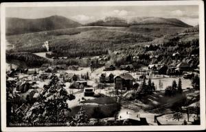 Ak Karpacz Krummhübel im Riesengebirge Schlesien, Gesamtansicht, Schneekoppe