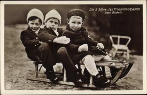 Ak Porträt der 3 Söhne des Kronprinenpaares beim Rodeln, NPG 4350
