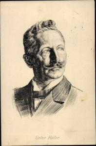 Künstler Ak Portrait, Kaiser Willhelm II. von Preußen