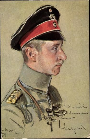 Künstler Ak Kronprinz Wilhelm von Preussen, Portrait, Uniform, Schirmmütze 0