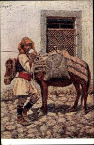 Künstler Ak Junge in Tracht mit Esel