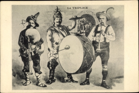 Künstler Ak La Triplice, Emmanuel III von Italien, Kaiser Wilhelm II. von Preußen, Franz Joseph I 0