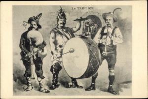 Künstler Ak La Triplice, Emmanuel III von Italien, Kaiser Wilhelm II. von Preußen, Franz Joseph I