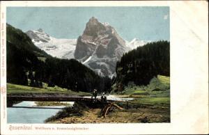 Ak Rosenlaui Schweiz, Wellhorn und Rosenlauigletscher