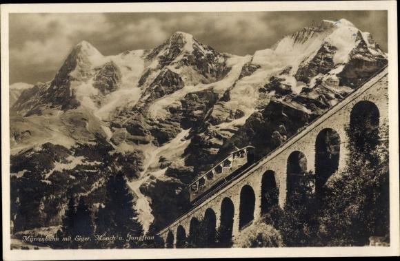 Ak Kanton Bern, Eiger, Mönch, Jungfrau, Mürrenbahn 0