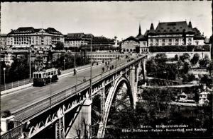 Ak Bern Stadt Schweiz, Kirchenfeldbrücke, Hotel Bellevedere-Palace-bernerhof und Kasino, Tram