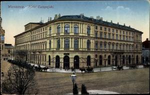 Ak Warszawa Warschau Polen, Hotel Europejski