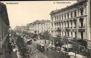 Ak Warszawa Warschau Polen, UI. Marszalkowska, Straßenbahn