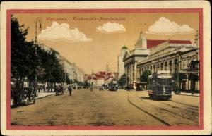Ak Warszawa Warschau Polen, Krakowskie Przedmiescie, Straßenbahn