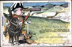 Künstler Ak China, Gruß vom Kriegsschauplatz, General auf einem Maulesel mit Fernrohr, Karikatur