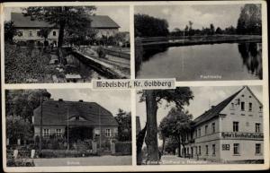 Ak Modlikowice Modelsdorf Polen, Mühle, Fischteiche, Schule, Rinke's Gasthaus und Fleischerei