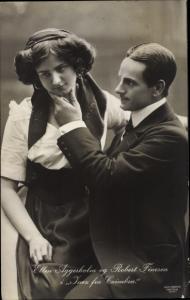 Ak Schauspielerin Ellen Aggersholm und Schauspieler Robert Finesen in Inez fra Coimbra