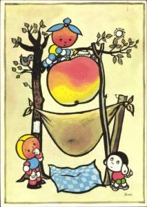 Künstler Ak Reklame, ABC Zeitung, vermenschlichte Früchte, Apfel